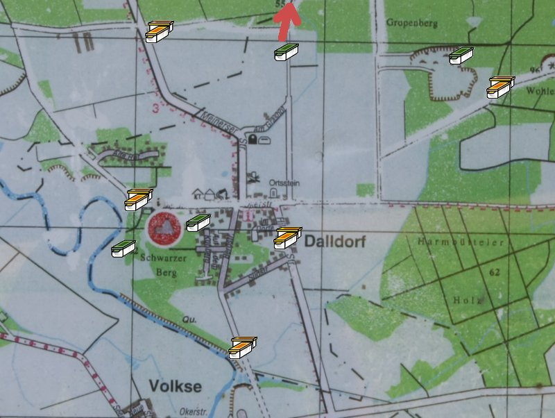 Karte mit Caches